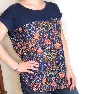 Target xhilaration Blue Flower Patterned Shirt
